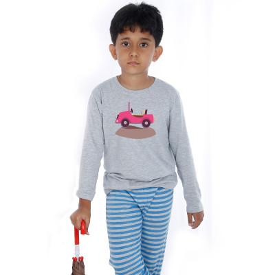 Grey Full Sleeve Boys Pyjama - Jeep